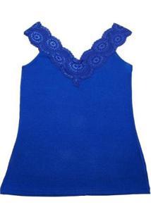 Regata Via Costeira Em Viscose Com Renda Feminina - Feminino-Azul