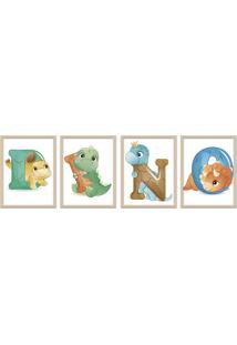 Quadro 30X80Cm Infantil Dinossauro Letras Moldura Natural Sem Vidro Decorativo - Multicolorido - Dafiti