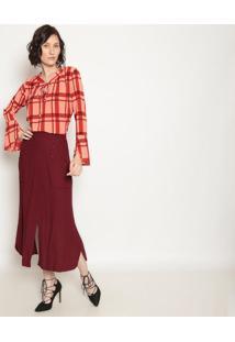 Blusa Xadrez Com Amarraã§Ã£O - Vermelha & Laranja - Opoperate