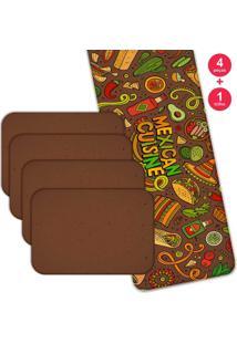 Jogo Americano Love Decor Com Caminho De Mesa Mexican Cuisne Kit Com 4 Pçs 1 Trilho