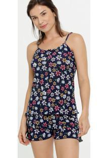 Pijama Feminino Liganete Floral Alças Finas Marisa