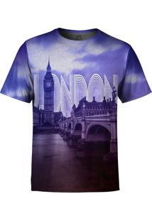 Camiseta Estampada Over Fame Londres Roxo