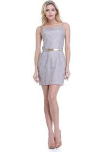 Vestido Clara Arruda Estampado Feminino - Feminino-Cinza