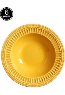 Conjunto 6 Pratos Fundos Poppy Amarelo Scalla