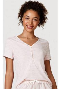 Blusa Feminina Estampada Com Botões