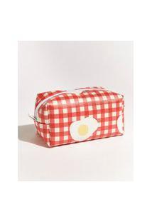 Nécessaire Feminina Mindset Obvious Estampada Xadrez Vichy Com Ovos Vermelha