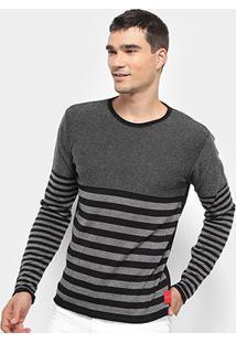 Malha Calvin Klein Sueter Listrado Flutuante Masculina - Masculino-Preto