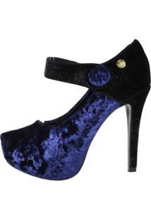 Scarpin Week Shoes Salto Alto Boneca Veludo Azul E Preto