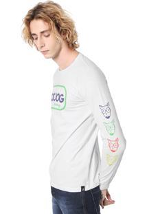 Camiseta Doc Dog Manga Longa Estampada Branca