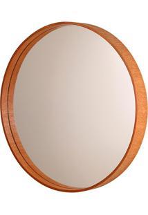 Espelho Redondo Com Moldura Em Madeira 45,5Cm Mogno