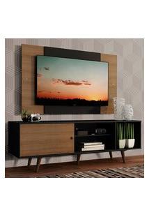 Rack Madesa Dubai Com Pés E Painel Para Tv Até 58 Polegadas - Preto/Rustic D8C1 Preto