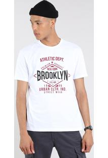 "Camiseta Masculina ""Brooklyn"" Manga Curta Gola Careca Off White"