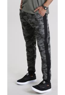 Calça Masculina Jogger Estampada Camuflada Com Recortes Em Moletom Com Bolsos Verde Militar