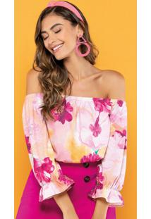 Body Estampado Flores Rosa Choque