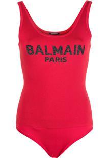 Balmain Body Com Logo - Vermelho