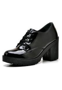 Sapato Oxford Retro Preto Verniz
