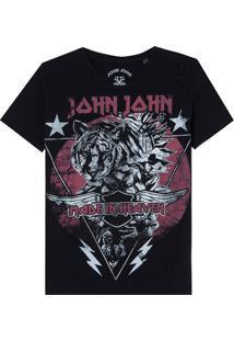 Camiseta John John Tiger Stars Malha Algodão Preto Feminina (Preto, P)