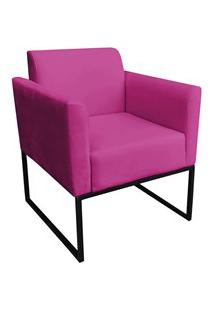 Poltrona Decorativa Base Industrial Preto Maressa S13 Suede Pink - Ibi