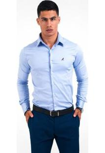 Camisa Social Masculina Super Slim - Masculino-Azul