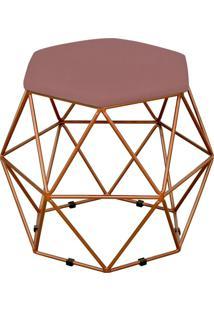 Puff Decorativo Aramado Bronze Six Suede Rosê - Lyam Decor