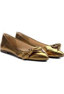 Sapatilha Couro Shoestock Bico Fino Nó Feminina - Feminino-Bronze