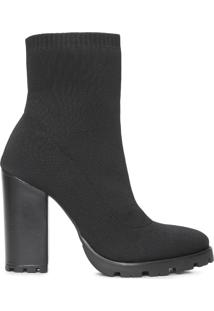 Bota Feminina Sock Boot High - Preto
