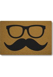Tapete Capacho Bigode Com Óculos - Ouro