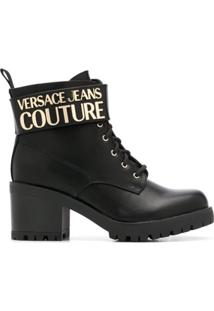 Versace Jeans Couture Ankle Boot Com Logo - Preto