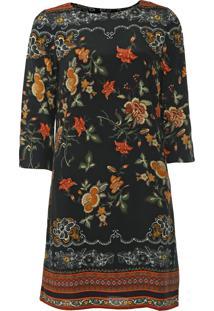 Vestido Desigual Curto Praga Preto/Laranja