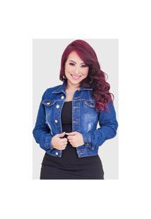 Jaqueta Femininas Jeans Rasgada Qualidade Top Azul