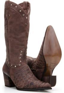 Bota Texana Couro Country Capelli Boots Feminina - Feminino-Marrom
