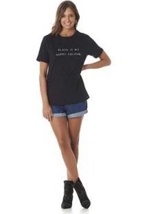 Camiseta Serinah Bordado Localizado Feminina - Feminino-Preto