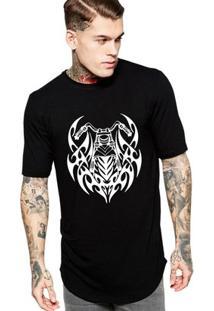 Camiseta Criativa Urbana Long Line Oversized Moto Tribal - Masculino-Preto
