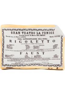 Fornasetti Bandeja Cinza Em Porcelana Modelo 'Rigoletto'.