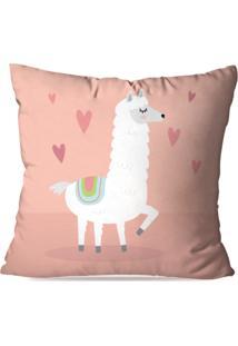 Capa De Almofada Avulsa Decorativa Lovely Cute Alpaca 45X45Cm