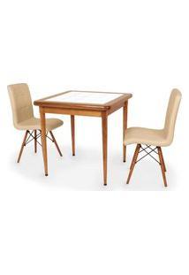 Conjunto Mesa De Jantar Em Madeira Imbuia Com Azulejo + 2 Cadeiras Gomos - Nude