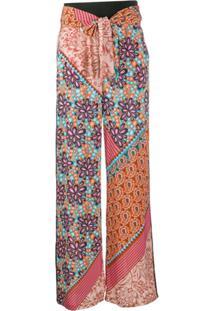 Pinko Calça Cintura Alta Com Cinto - Rosa