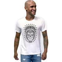 c9f60940c8 T-Shirt Masculina Joss Caveira Indio - Masculino-Branco