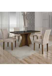 Conjunto De Mesa De Jantar Creta I Com 4 Cadeiras Olímpia Suede Preto E Palha
