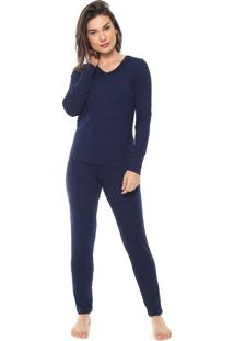 Pijama Bela Notte Renda Azul-Marinho