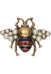 Gucci Broche De Abelha Com Pérolas E Cristais - Metálico