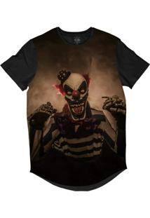Camiseta Insane 10 Longline Palhaço Caveira Psicopata Sublimada Preta Marrom