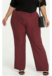 Calça Feminina Estampa Bolinhas Pantalona Plus Size