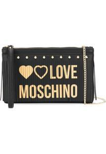 Love Moschino Clutch Com Franjas - Preto
