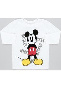 Camiseta Infantil Mickey Flamê Manga Longa Off White