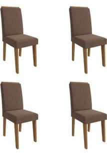 Conjunto Com 4 Cadeiras De Jantar Milena Suede Savana E Chocolate