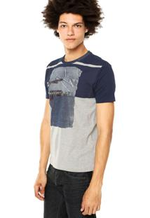 Camiseta Calvin Klein Jeans Estampa Recorte Azul/Cinza