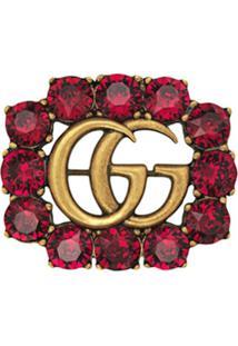 Gucci Broche Duplo G Com Cristais - Vermelho