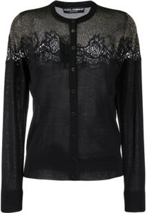 Dolce & Gabbana Lace Detailed Cardigan - Preto