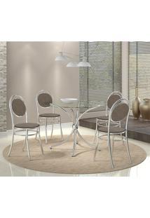 Mesa 375 Vidro Incolor Cromada Com 4 Cadeiras 190 Camurça Conhaque Carraro